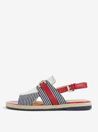 Sandale albastru&rosu in dungi cu piele Geox Mary Kolleen