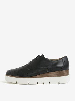 Pantofi negri cu siret si talpa wedge Geox Kattilou