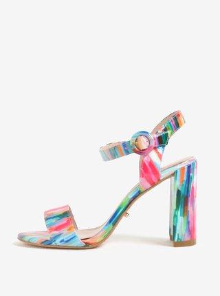 Sandale multicolore cu aspect lacuit si toc patrat Dune London Mixed