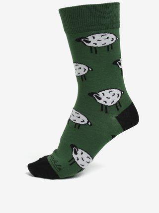 Tmavě zelené unisex ponožky s motivem oveček Fusakle Chopok léto