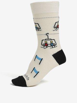 Čierno-krémové unisex ponožky s motívom zjazdovky Fusakle Chopok zima