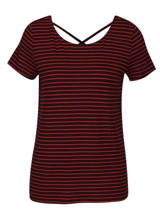 Tricou cu dungi rosu cu negru si snur incrucisat la spate ONLY Bera