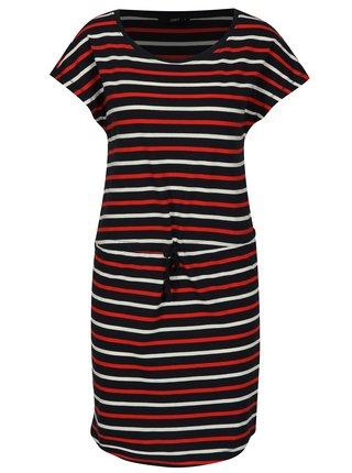 Tmavomodré pruhované šaty s krátkym rukávom ONLY May