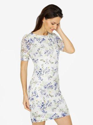 Rochie din dantela crem cu print floral M&Co