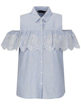 Bluza albastra cu volane si broderie Dorothy Perkins