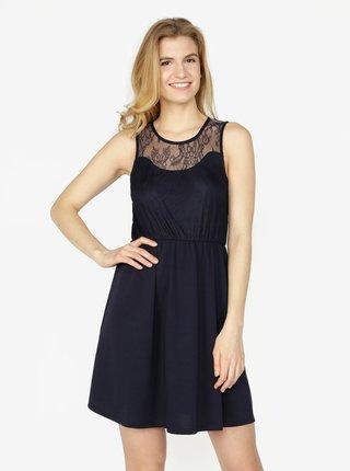 Tmavomodré šaty s čipkou VERO MODA Daga