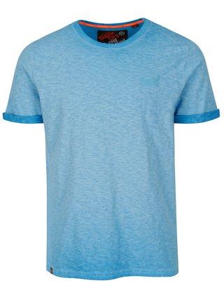 Tricou albastru melanj cu logo brodat pentru barbati - Superdry