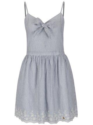 Bielo-modré pruhované šaty s mašľou Superdry