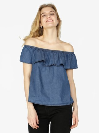 Tmavě modrý džínový top s odhalenými rameny VERO MODA Emilia