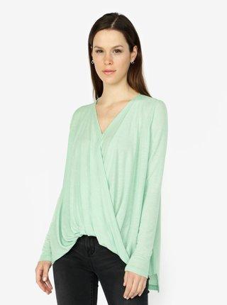 Zelené tričko s překládaným předním dílem VERO MODA Luna