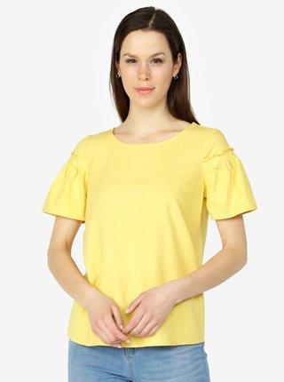 Žlté ľanové tričko so zvonovými rukávmi VERO MODA Asta