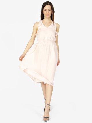Svetloružové šaty s volánmi VERO MODA Iris