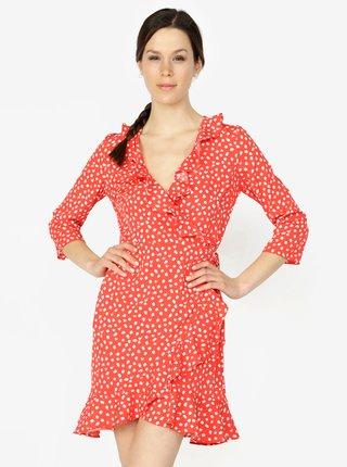 Červené vzorované zavinovacie šaty s volánmi VERO MODA Henna