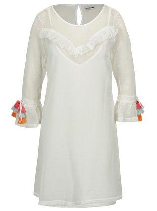 Krémové sieťované šaty so strapcami na rukávoch Noisy May Laura