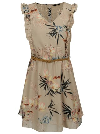 Béžové květované šaty s kajkou na zádech a volánky ONLY Libby