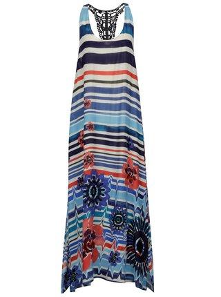 Rochie maxi albastra in dungi - Desigual Flora