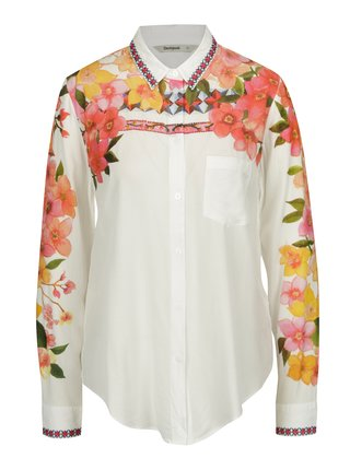 Camasa alba cu print floral si broderie discreta - Desigual Laurene