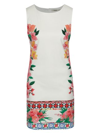 Rochie alba cu print floral si decolteu rotund - Desigual Cher