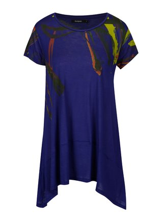 Modré asymetrické tričko s krátkým rukávem Desigual Aristo
