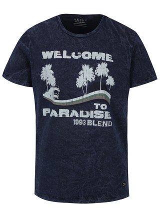 Tmavomodré slim fit tričko s potlačou Blend