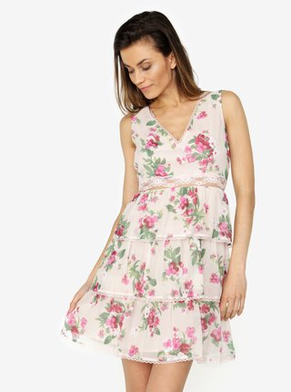Ružové kvetované šaty s čipkou Miss Selfridge
