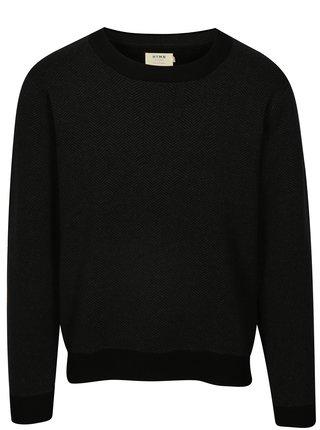 Pulover negru cu gri cu model Herringbone HYMN
