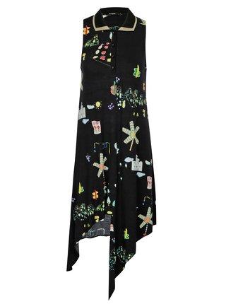 Rochie neagra cu print si guler - Desigual Mariona