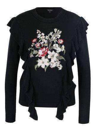Pulover negru cu broderie florala si volane Miss Selfridge