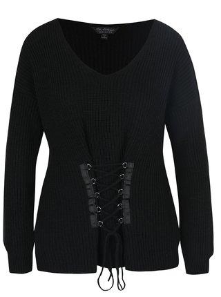 Pulover negru cu aplicatie decorativa tip corset Miss Selfridge