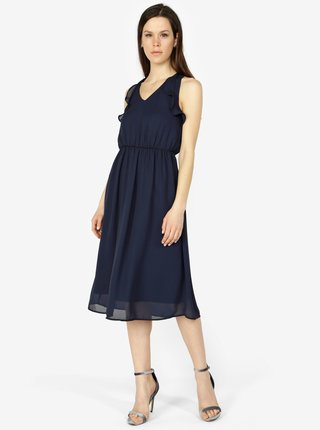 Tmavomodré šaty s volánmi VERO MODA Iris