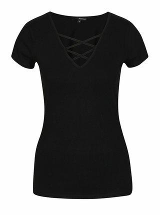 Čierne tričko so šnurovaním v dekolte TALLY WEiJL
