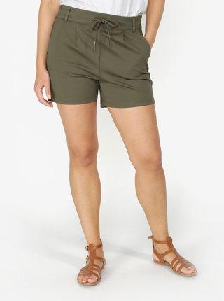 Pantaloni scurti kaki cu talie clasica si snur - ONLY Poptrash