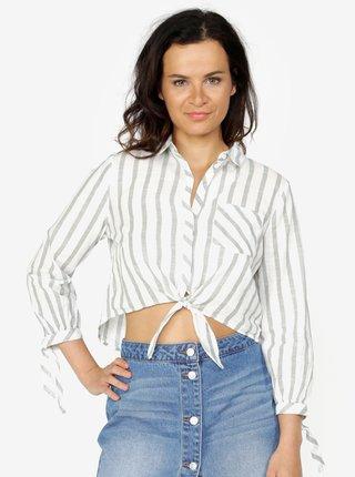 Krémovo-zelená pruhovaná krátka košeľa ONLY Ameli