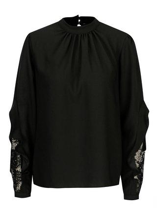 Bluza neagra cu dantela si volane Dorothy Perkins