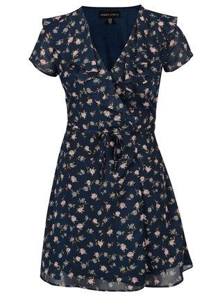 Tmavomodré kvetované zavinovacie šaty Mela London