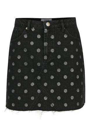 Čierna bodkovaná rifľová minisukňa Miss Selfridge