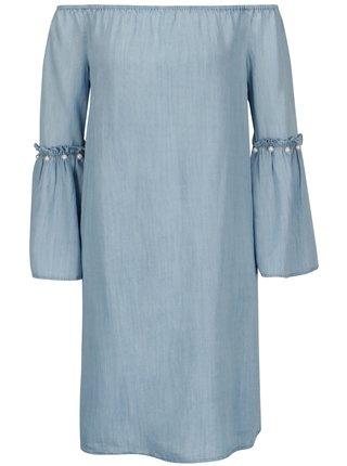 Svetlomodré šaty s odhalenými ramenami ONLY Vilde