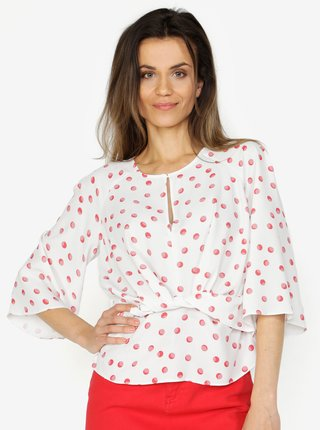 Bluza crem cu buline si nod decorativ - Miss Selfridge