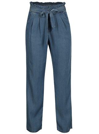 Pantaloni albastri lejeri cu talie inalta si cordon - Noisy May Marian