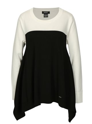 Bielo-čierny asymetrický sveter DKNY