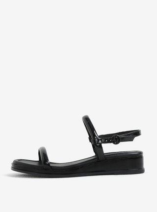 Sandale wedge negre cu aspect de lemn - DKNY