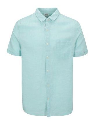 Camasa de in bleu cu maneca scurta si buzunar la piept - Burton Menswear London
