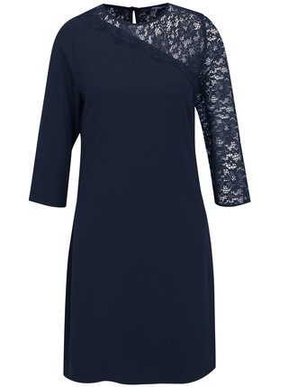 Tmavomodré šaty s 3/4 rukávom a čipkou Dorothy Perkins