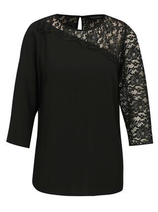Bluza asimetrica neagra cu dantela Dorothy Perkins