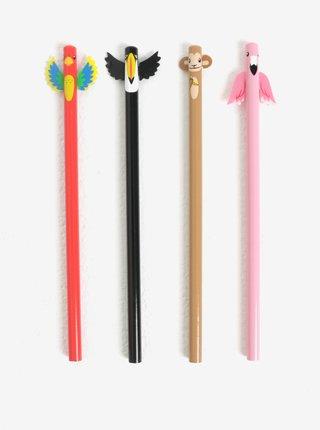 Set de 4 creioane cu figuri de pasari  Kikkerland