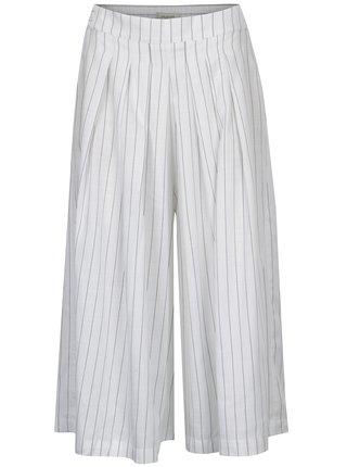 Pantaloni culottes albi cu dungi si talie inalta - Selected Femme Raika