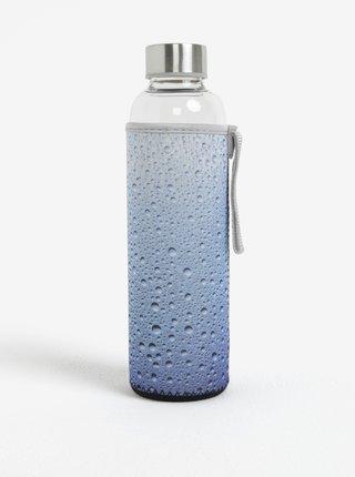 Sklenená fľaša v modrom termo obale Kikkerland 591 ml
