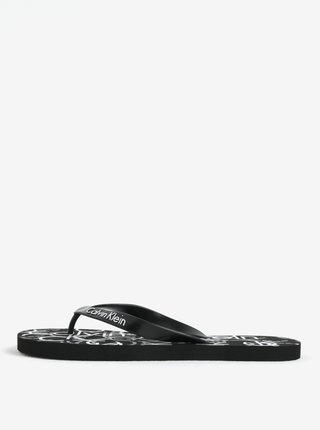 Papuci flip-flop barbatesti negri cu print Calvin Klein Underwear