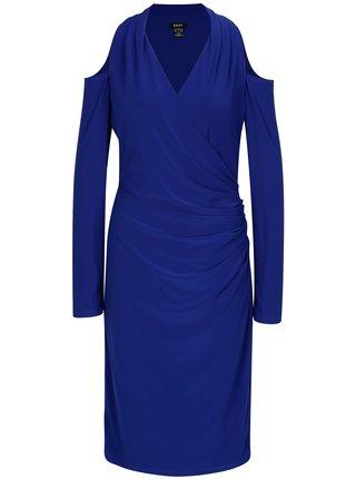 Rochie albastra cu drapaje si decupaje pe umeri DKNY