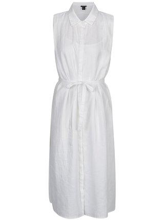 Bílé lněné košilové šaty DKNY